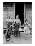 Beautiful Children with Bike and a Cat Posters by Dorothea Lange