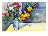 Still Life with Flowers in a Vase Premium Giclee Print by Paul Cézanne
