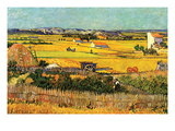 Harvest at La Crau with Montmajour in the Background Premium Giclee Print by Vincent van Gogh