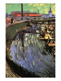 Canal with Women Washing Premium Giclee Print by Vincent van Gogh