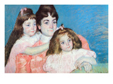 Madame A.F. Aude with Her Two Daughters Print by Mary Cassatt