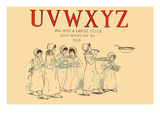 Uvwxyz All Had a Large Slice and Went Off to Bed Prints by Kate Greenaway