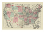 Map of the United States Territories 1872 Print