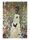 Garden Path with Chickens Poster von Gustav Klimt
