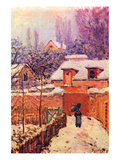 Garden in the Snow Premium Giclee Print by Alfred Sisley