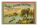 Puget Sound Salmon - on the Fly Affiches par  Schmidt Lithograph Co
