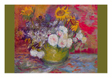 Still-Life with Roses and Sunflowers by Van Gogh Premium Giclee Print by Vincent van Gogh