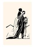 Couple Side by Side Moving Toward a Wedding Ceremony Kunstdrucke von Maxfield Parrish