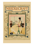 Victorian Girl Does Needlepoint Portrait Prints by  Needlecraft Magazine
