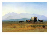 The Stagecoach in the Rockies Print by Albert Bierstadt