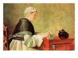 Tea Drinker Kunstdrucke von Jean-Baptiste Simeon Chardin