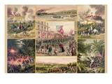 Collage of Events That Symbolize the American Victory Against the Spanish Art