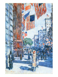 Flags, Fifth Avenue Premium Giclee Print by Childe Hassam