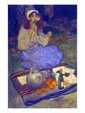 Miguela, Kneeling Still, Put it to Her Lip Premium Giclee Print by Elizabeth Shippen Green