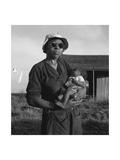 Wife and Child of Tractor Driver Giclee-tryk i høj kvalitet af Dorothea Lange