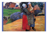 Breton Farmers Prints by Paul Gauguin