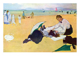 Small Girls on the Beach Premium Giclee Print by Edgar Degas
