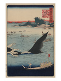Whale Hunting at the Island of Goto in Hizen (Hizen Goto Kujiraryo No Zu) Print by Ando Hiroshige