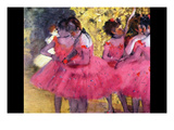 Dancers in Pink Between the Scenes Print by Edgar Degas