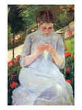 Young Woman Sewing in the Garden Prints by Mary Cassatt