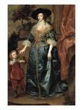 Portrait of Henrietta Maria with a Dwarf Poster von Anthony Van Dyck