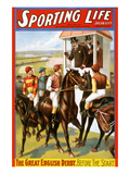 The Great English Derby. before the Start. Prints by  Strobridge Lithograph Co