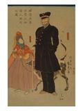 American Merchant Strolling in Yokohama (Yokohama Torai Amerika ShoNin RyoKo No Zu) Posters by Sadahide Utagawa