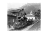 Cable Car Train in Alps at Rigi in Switzerland Prints