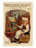 Norwegian Girl Weaving a Tapestry Posters by  Needlecraft Magazine