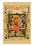 Little Girl Holds a Doll and Sports and Umbrella Posters by  Needlecraft Magazine