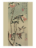 Sparrows and Camellias in Snow. Posters par Ando Hiroshige