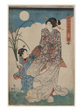 Full Moon over Woman and a Young Girl Prints by Utagawa Kunisada