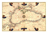 Portolan or Navigational Map of the Black Sea Showing Anthropomorphic Winds Photographie par Battista Agnese
