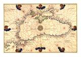 Portolan or Navigational Map of the Black Sea Showing Anthropomorphic Winds Kunst af Battista Agnese