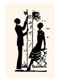 Suitor Pulls a Heart from a Trellis Kunstdrucke von Maxfield Parrish