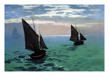 Le Havre - Exit the Fishing Boats from the Port Print by Claude Monet