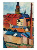 St. Mary&#39;s Church with Houses and Chimney Prints by August Macke