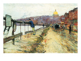 Charles River and Beacon Hill Premium Giclee Print by Childe Hassam