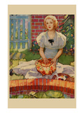 Woman Embroiders by the Side of a Home Pond Poster by  Home Arts