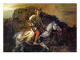 The Polish Rider Print by Rembrandt van Rijn 