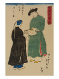 Chinese from Nanking Admire Koshu Fan (Shincho Nankinjin Kansho Koshu OGi No Zu) Prints by Sadahide Utagawa