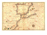 Portolan or Navigational Map of the Spain, Gibraltar and North Africa Affiches par Battista Agnese