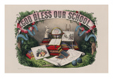 God Bless Our School Prints by Currier & Ives