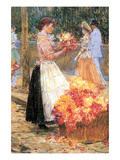 Woman Sells Flowers Poster by Childe Hassam