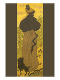 Woman Standing Beside Railing with Poodle Kunstdrucke von Paul Ranson