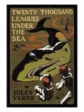 20.000 Meilen unter dem Meer, Englisch Poster von Jules Verne