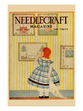 Young Girls Looks at a Selection of Old Needlepoints on a Wall Prints by  Needlecraft Magazine