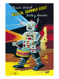 Musical Drummer Robot Posters