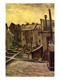 Backyards of Old Houses in Antwerp in the Snow Premium Giclee Print by Vincent van Gogh