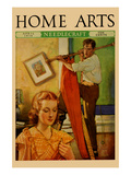 Wife Sews While a Man Hangs a Picture Prints by  Home Arts